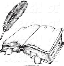 a drawing of a book drawing of a black and white open book and feather quill
