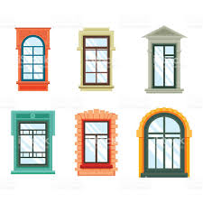 Old Window Frames Old Window Frames View Isolated House Wall Stock Vector Art