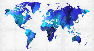 map painting world map 17 blue art by sharon mings by sharon mings
