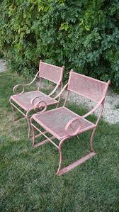wrought iron scroll arm chairs painted in light pink i may just have to give