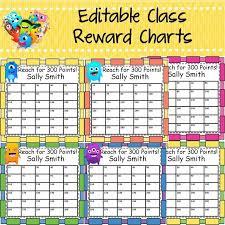 Editable Reward Chart Behavior Management Editable Reward Charts Monster Class
