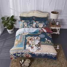 fleece fabric bedding set 4pcs winter quilt cover horse print duvet cover warm bed sheet pillowcase