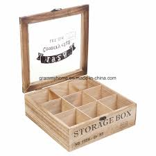 multi storage section compartments wooden tea box with glass lid