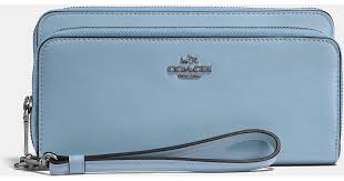 Lyst - Coach Double Accordion Zip Wallet In Smooth Leather in Blue
