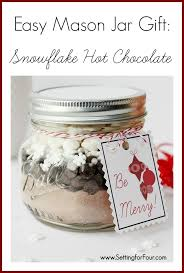 last minute diy gift snowflake hot chocolate mason jar food gift with free printable