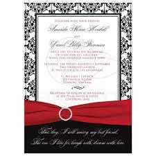 Black And White Invitation Paper Wedding Invitation Black White Damask Printed Red Ribbon Printed Jewel Brooch