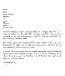 Letters For Scholarships Etter Format Scholarship 30 Sample Letters Of Recommendation For Pdf