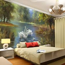 room elegant wallpaper bedroom: buy elegant swan lake wallpaper photo wallpaper custom wall murals oil painting art interior kids bedroom coffee shop room decor from reliable wallpaper for