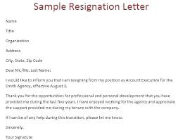 Example Of Resignation Letter Simple Formal Resignation Letter Sample Nurses Letters Of For Nurse In Word