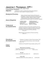 Phlebotomy Resume Templates Entry Level Resumes Templates Entry