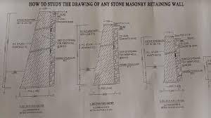 stone masonry retaining wall drawing