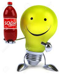 Light Bulb Drink Bottle Light Bulb Character Holding A Soft Drink Bottle