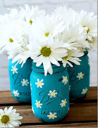 diy mason jar vases painted mason jar with daisies best vase projects and ideas