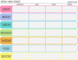 meal planning chart free printable menu planners fill in day of the week format at