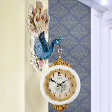 on wall clock art design with wall clock design art deco peacock double sided silent hanging