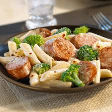 sausage and pasta saute slowly sautee hillshire farm sup sup smoked sausage pasta broccoli parmesan cheese and cream for this perfect fort