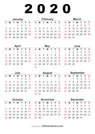 One Sheet Calendar 2020 210 2020 Calendar Vectors Download Free Vector Art