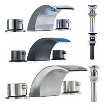 details about led waterfall widespread bathroom sink faucet basin two handles mixer tap