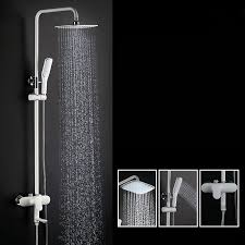 black white single handle exposed rain shower system tub spout adjule height