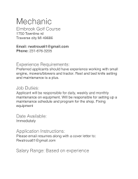 Mechanic job description - Elmbrook Golf Course