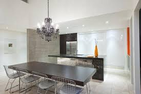 black crystal chandelier kitchen industrial with bertoia chair black cabinets