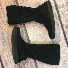 UGG Australia Argyle Classic Cardy Crochet Black Sweater Boots Size 7 5879  EUC