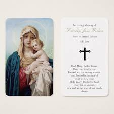 Funeral Prayer Cards Funeral Prayer Card Mother Mary Baby Jesus Zazzle Com