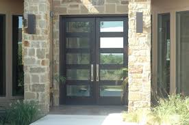 modern exterior double doors. Exterior. Dark Brown And Glass Wooden Double Entry Doors With Stainless Steel Handles Connected By Beige Wall. Entrancing Schemes Of Modern \u2026 Exterior E