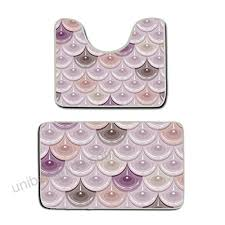 us tang memory foam 2 piece bathroom rug set mermaid fish scales skidproof bath mat and
