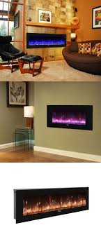 caesar hardware contemporary luxury linear wall mount recess freestanding multicolor flame electric fireplace 50 black