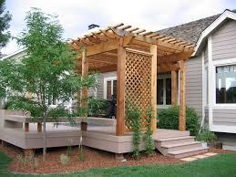 pergola design. impressive wooden pergola design ideas with yard elves deck also small tree plus outdoor seating