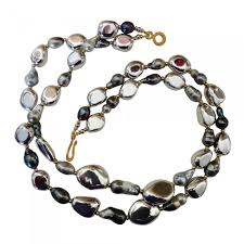 michael kneebone double strand baroque tahitian pearl pebble bead necklace