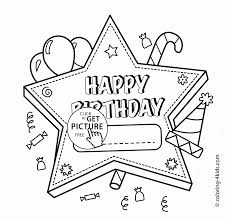 Happy Birthday Star Card Coloring Page