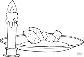 Candle And Bread coloring page | Free Printable Coloring Pages