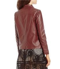 brown moto bb dakota gabrielle open front faux leather jacket womens fig