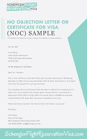No Objection Letter For Visa Application And Sample