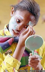 eleven year old tashika boston applies make up the prescott elementary clown austin makeup cles makeup