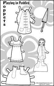 bplaying in puddles a poppet paper doll dress up set with a rain coat