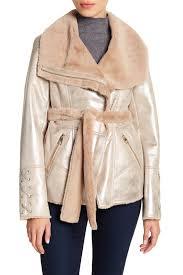 image of guess metallic faux fur jacket