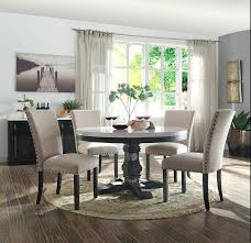marble round dining table set 5 white top salvaged dark oak finish wood acme malaysia