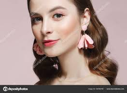 clean fresh face of pretty with natural makeup pink eye s stock photo