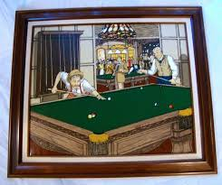h hargrove mens playing pool billiard oil painting large 30 x26