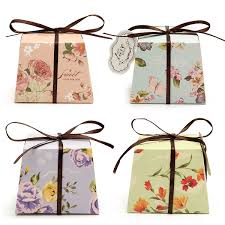 10pcs Floral Printed Ribbon Card Candy Box Birthday Gift Boxes