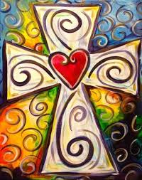 easter cross painted on canvas