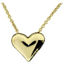 gold puffed heart pendant necklace for