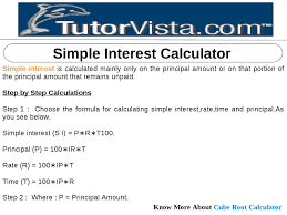 Simple Interest Calculator By Tutorvista Team Issuu