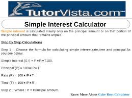 Simple Interest Calculator By Tutorvista Team Issuu