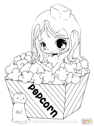 Small Picture Chibi Popcorn Girl coloring page Free Printable Coloring Pages