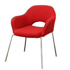mid century modern red twill executive arm chair by baxton studio