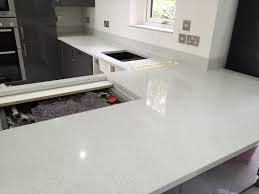 installation of starlight white mirror quartz worktops 15 10 14